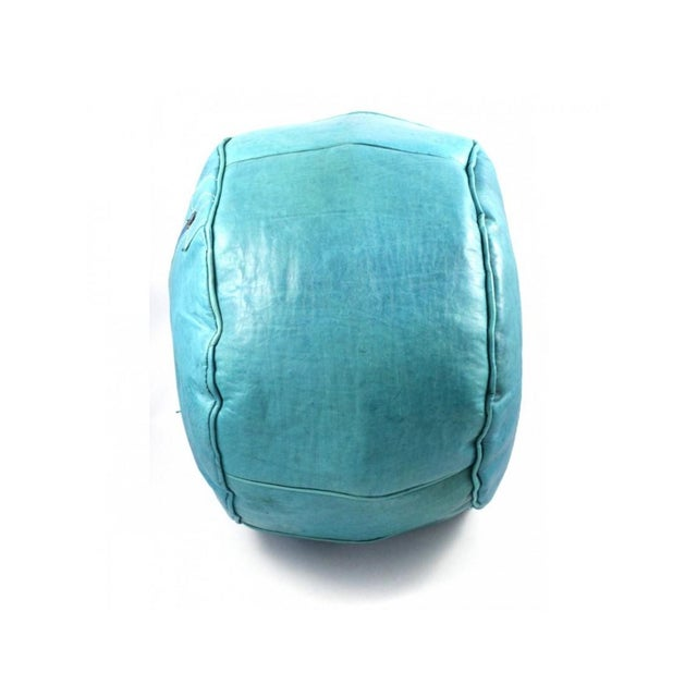 Turquoise Moroccan Leather Pouffe Ottoman For Sale - Image 4 of 5