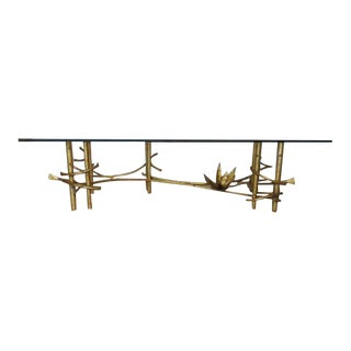 1960s Hollywood Regency Gilded Coffee Table For Sale