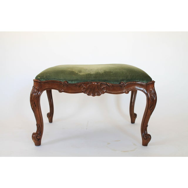 Green Velvet French Provincial Ottoman or Footstool For Sale - Image 8 of 8
