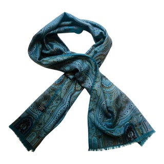 Etro Silk Wool Long Paisley Scarf For Sale