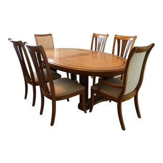Stanley Birds Eye Maple Burl-Wood Formal Dining Set With Seating for 8 For Sale