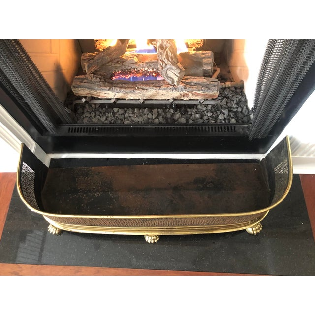 1920s Antique Brass Fireplace Fender With Log Catcher For Sale In Charleston - Image 6 of 11