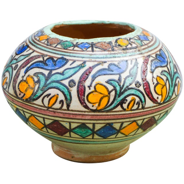 Antique handcrafted ceramic vase featuring an elaborate hand-painted Moorish pattern in a traditional Andalusian color...