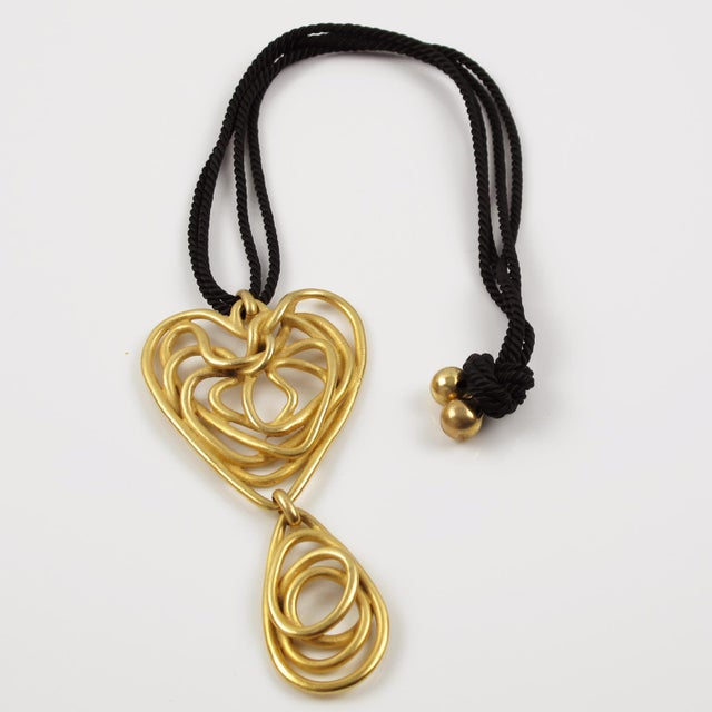 Black Balenciaga Paris Pendant Necklace Gilt Metal Wired Dangling Spiral For Sale - Image 8 of 8