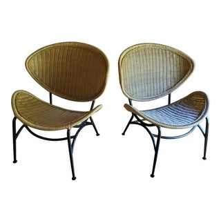 Vintage Wrought Iron and Wicker Rattan Clam Shell Chairs- A Pair For Sale