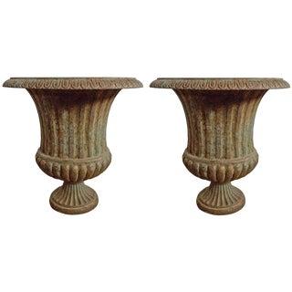 Vintage Cast Iron Urns - a Pair For Sale