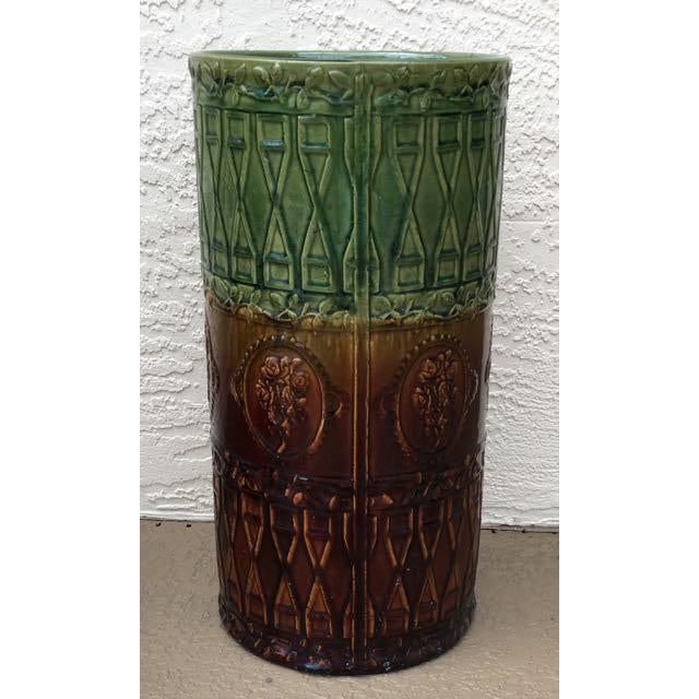 Antique Majolica Art Pottery Umbrella Stand For Sale In Tampa - Image 6 of 9