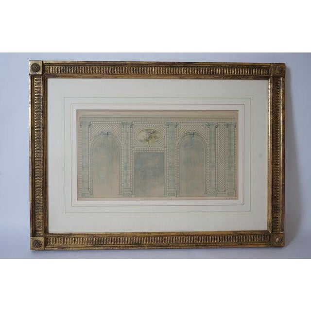 Antique 1820's Hand-Colored Architectural Drawing of Flowering Trellis For Sale - Image 9 of 9