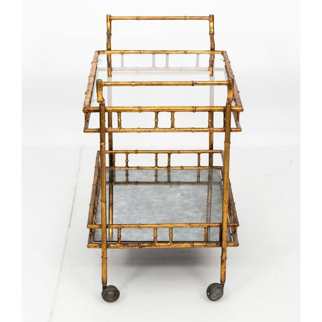 1950s 1950s Hollywood Regency Faux Bamboo Bar Cart For Sale - Image 5 of 8