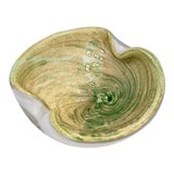 Image of Vintage Murano Art Glass Green and Gold Flake Dish Ashtray For Sale