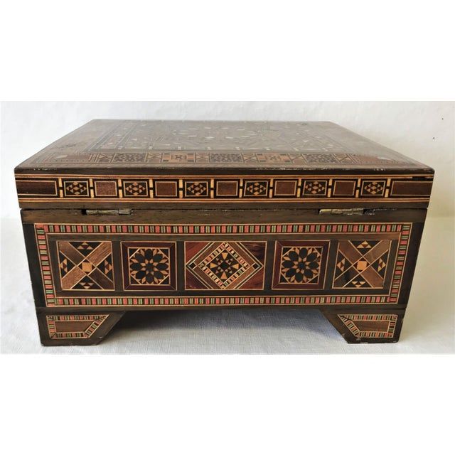 Turkish Inlaid Marquetry Mosaic Box With Key For Sale In West Palm - Image 6 of 13