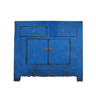 Distressed Rustic Azure Cobalt Blue Foyer Console Table Cabinet For Sale