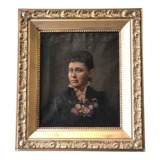 Antique Portrait of a Woman in Gold Gilt Frame With Brass Corners For Sale