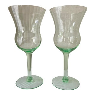 Vintage 1920/1930 Optic Ribbed Vaseline Glass Goblets by Tiffin - a Pair For Sale
