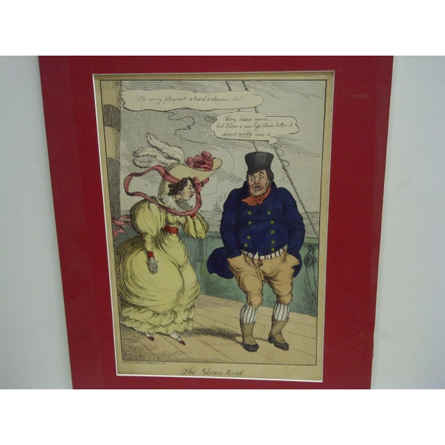 """Americana """"The Steam Boat"""" Hand Colored Print For Sale - Image 3 of 6"""