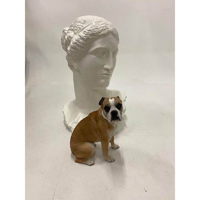 Impressive in scale monumental bust of Diana made of fiberglass, recently refreshed with white paint.