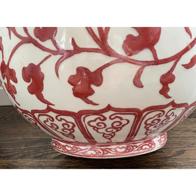 Burgundy Chinese Burgundy & White Floral Vases - a Pair For Sale - Image 8 of 10