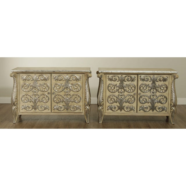 Rococo Rococo Style Custom Silver Leaf Foliage 2 Door Commodes Servers - a Pair For Sale - Image 3 of 12