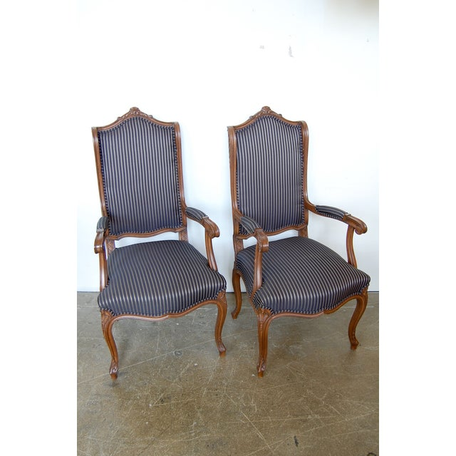 Louis XV French Pinstripe Carved Fauteuils - Pair - Image 2 of 9