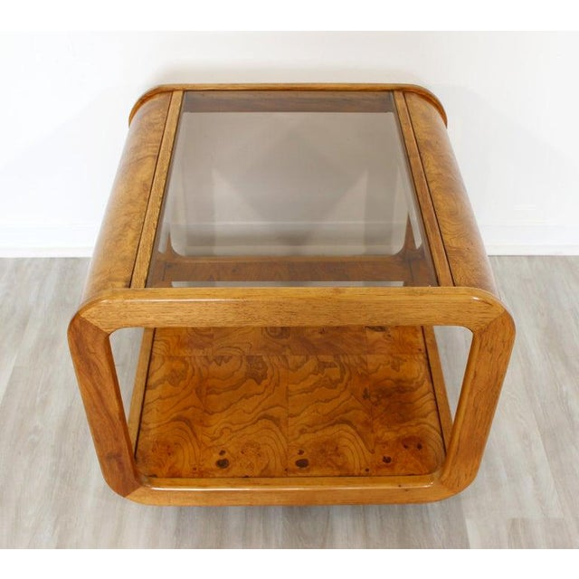 Brown Mid Century Modern Pair Burlwood Coffee & Side End Table 1970s For Sale - Image 8 of 13