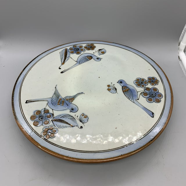 1960s 1960's Vintage Ken Edwards Pottery El Palomar Blue Cake Stand For Sale - Image 5 of 10