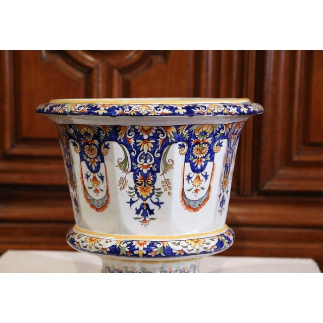 French Important Early 20th Century, French Hand-Painted Faience Planter From Normandy For Sale - Image 3 of 8