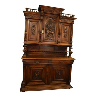 Antique French Ornate Walnut Hand Carved Figural Gothic Bookcase Cabinet For Sale