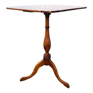 Antique Square Queen Anne Candle Stand Table For Sale