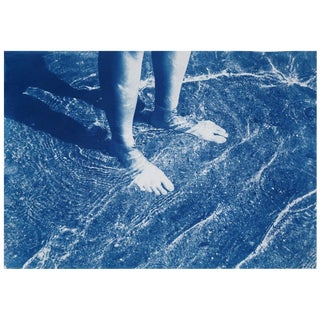 Greek Beach Bliss / Large and Handprinted Cyanotype on Watercolor Paper / 100x70cm / Limited Edition / Gallery Quality For Sale