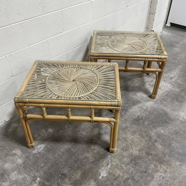 Boho Chic Bamboo & Wicker Glass Top End Tables For Sale - Image 3 of 8