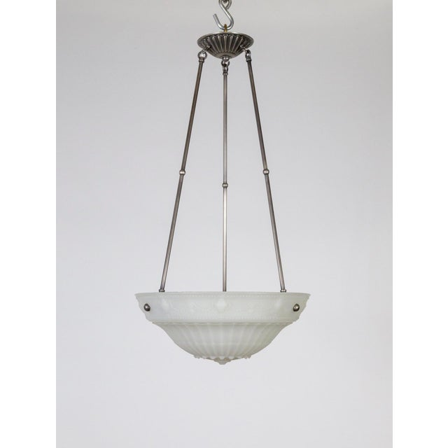 1920s Neoclassical Cast Milk Glass Rosette Pendant For Sale In San Francisco - Image 6 of 10