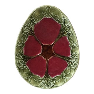 Green and Red French Majolica Platter Orchies Circa 1890 For Sale