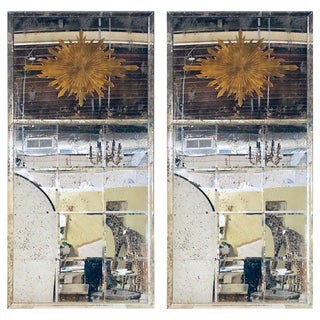 Pair of Hollywood Regency Monumental Sunburst Wall or Console Beveled Mirrors For Sale