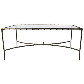 Faux Bamboo Brass and Glass Coffee Table After Bagues For Sale