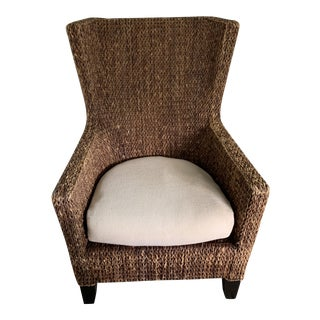 21st Century Vintage Crate and Barrel Rattan Arm Chair For Sale