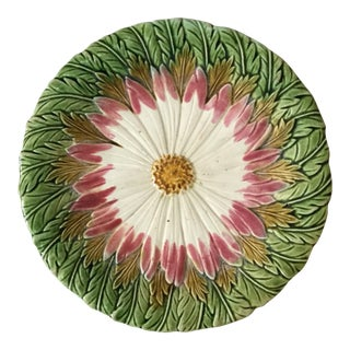 1880 Antique Orchies French Majolica Daisy Plate For Sale