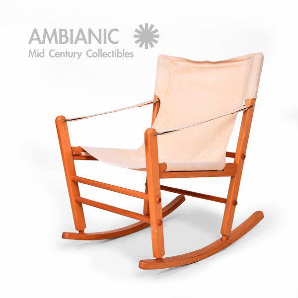 Tan Mid-Century Modern Safari Chair Rocker For Sale - Image 8 of 9