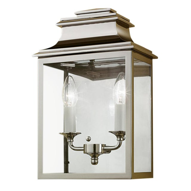 Mid-Century Modern Mayfair Wall Lantern in Polished Nickel For Sale - Image 3 of 3