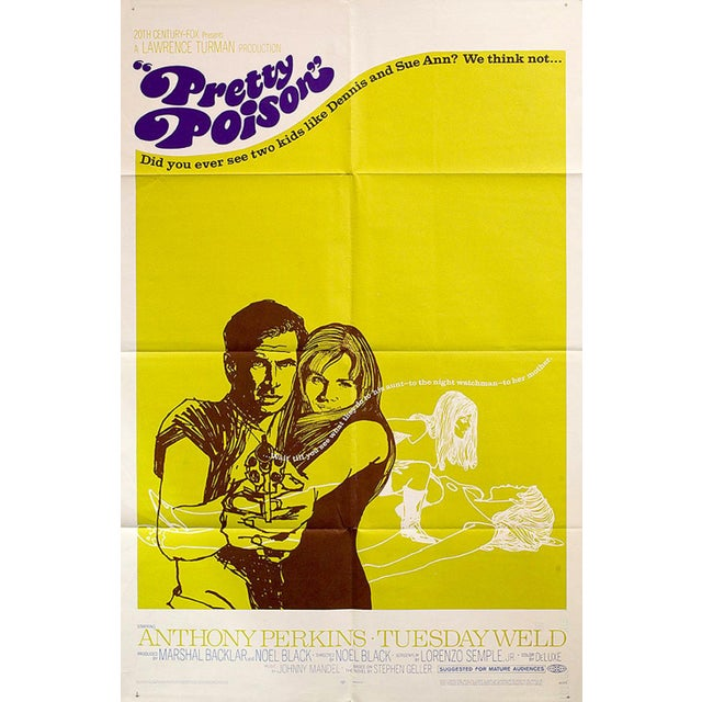 Groovy psychedelic art for the U.S. one sheet for Noel Black's terrific 60s crime film starring Anthony Perkins & Tuesday...