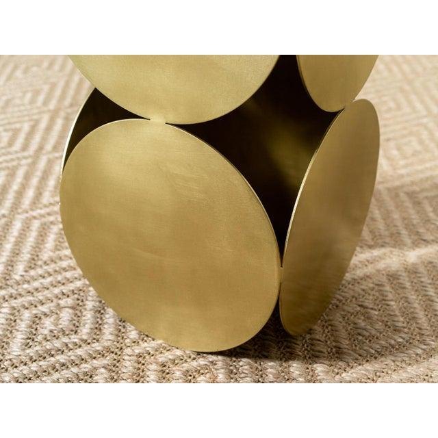 Antique Brasstone Disk 'Lola' Modern Side Table For Sale - Image 4 of 5
