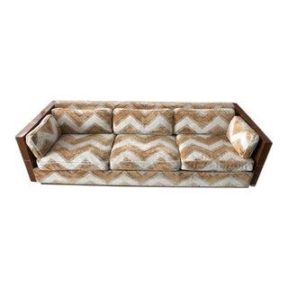 Mid-Century Milo Baughman Wood Paneled Sofa For Sale