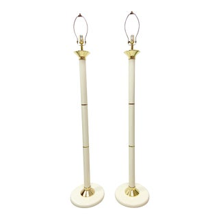 Vintage 1980s Ivory & Gold Floor Lamps - a Pair For Sale