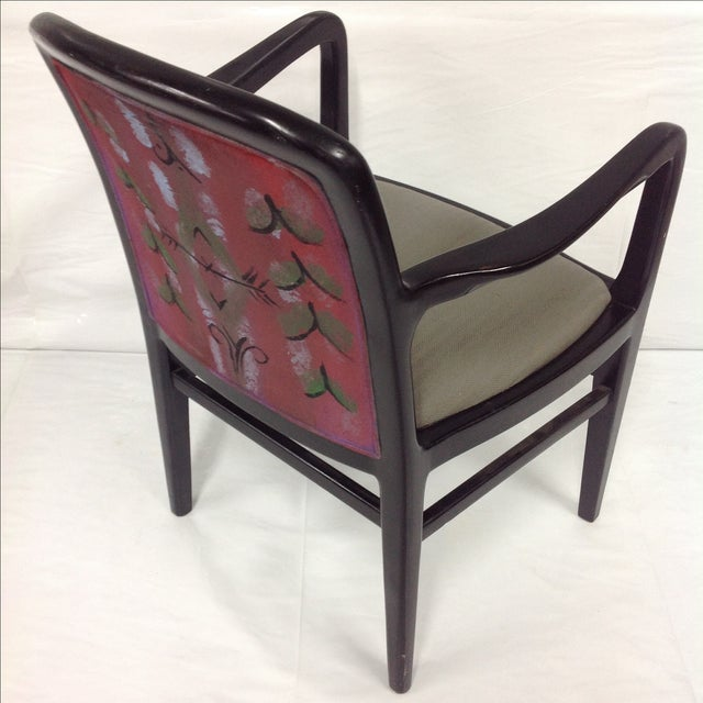Jack Lenor Larsen lounge chair with an original textile design painted onto upholstery on the back of chair. We ALWAYS...