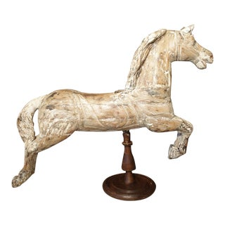 Antique Whitewashed Carousel Horse From Spain, Circa 1915 For Sale