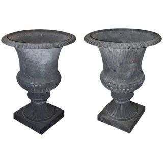 Oversize Cast Iron French Urns - A Pair For Sale
