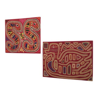 Vintage Mola Art Snakes and Bird Textile Panels - a Pair For Sale