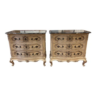 Henredon Marseilles Marble Top French Provincial Three Drawer Dresser - a Pair For Sale
