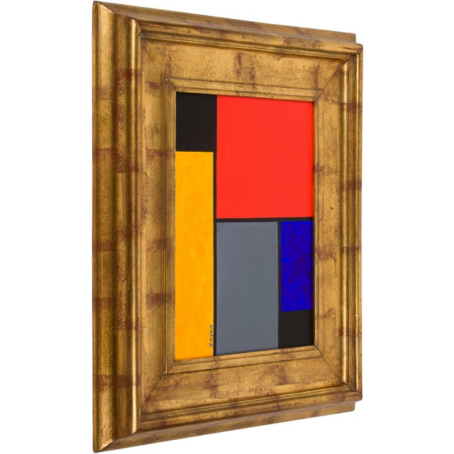 Colorful geometric abstract oil on board by well-listed artist Seymour Zayon. Seymour Zayon, born in 1930, is a...