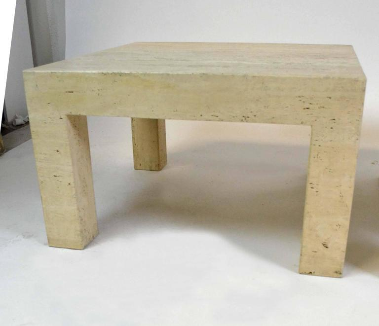 Vintage Travertine Parsons Tables   A Pair   Image 5 Of 7