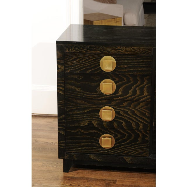 Sublime Restored Cerused Oak and Brass Commode by John Stuart, Circa 1950 For Sale - Image 11 of 13